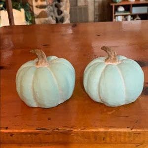 2 Small Aqua Chalk Pumpkins